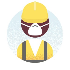 Worker with dust mask